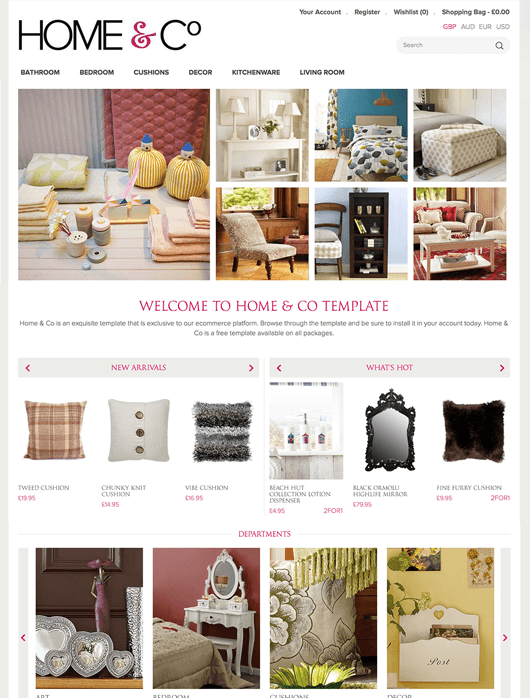Home & Co Ecommerce Theme - Handmade by ShopWired