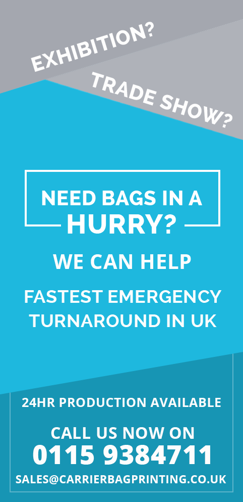 Exhibition? Trade show? Need bags in a hurry? We can help. Fast emergency turnaround in UK. 24 hour product available. Call us now on 0115 938 4711