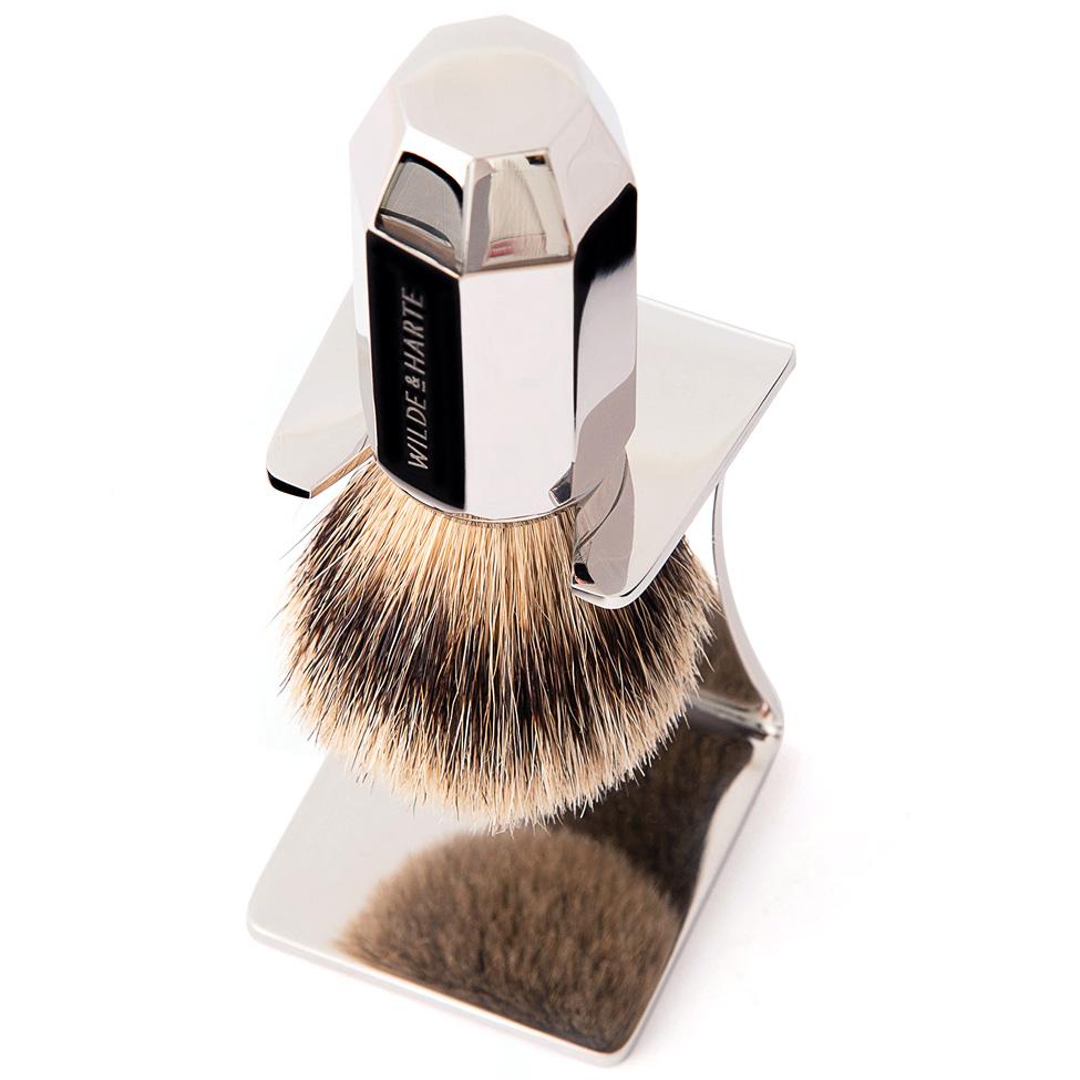 badger hair shaving brush-in-stand