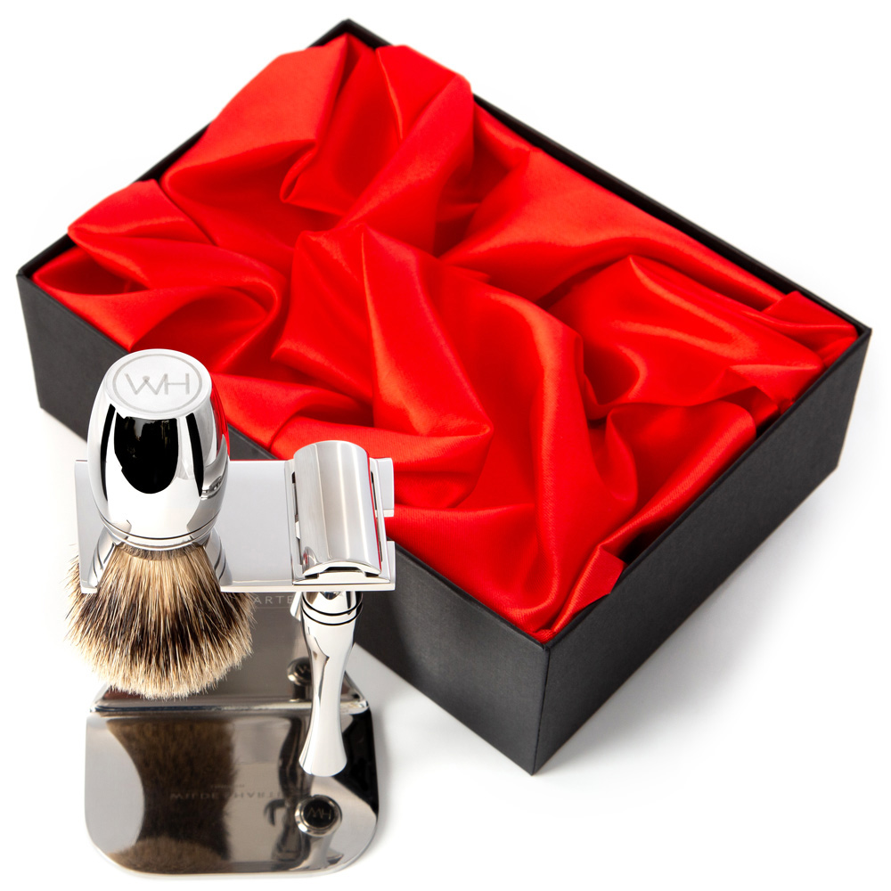 made in Britain safety razor and shaving brush gift set