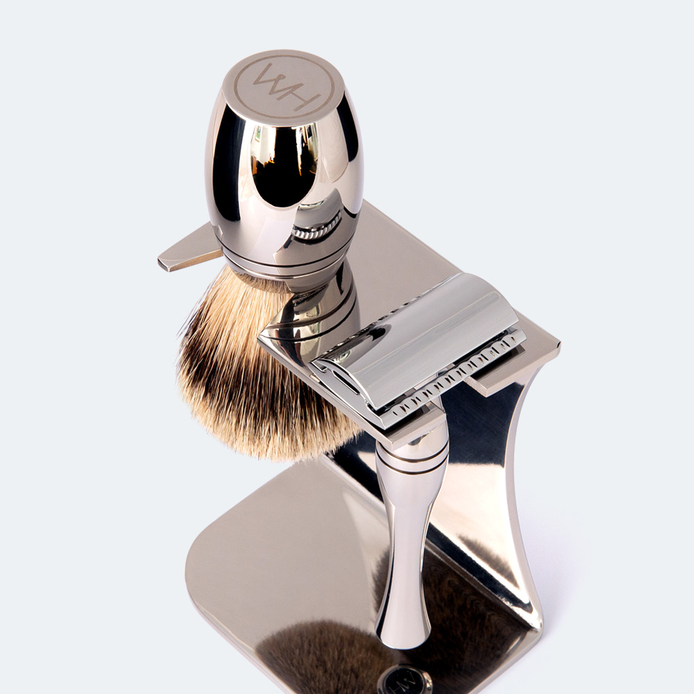 razor and brush shaving kit