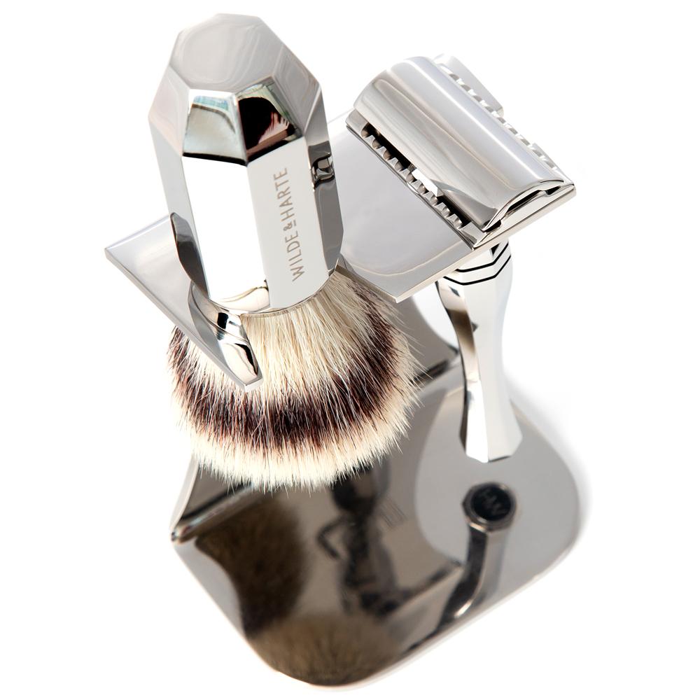 vegan freindly razor and shaving shaving set with stand